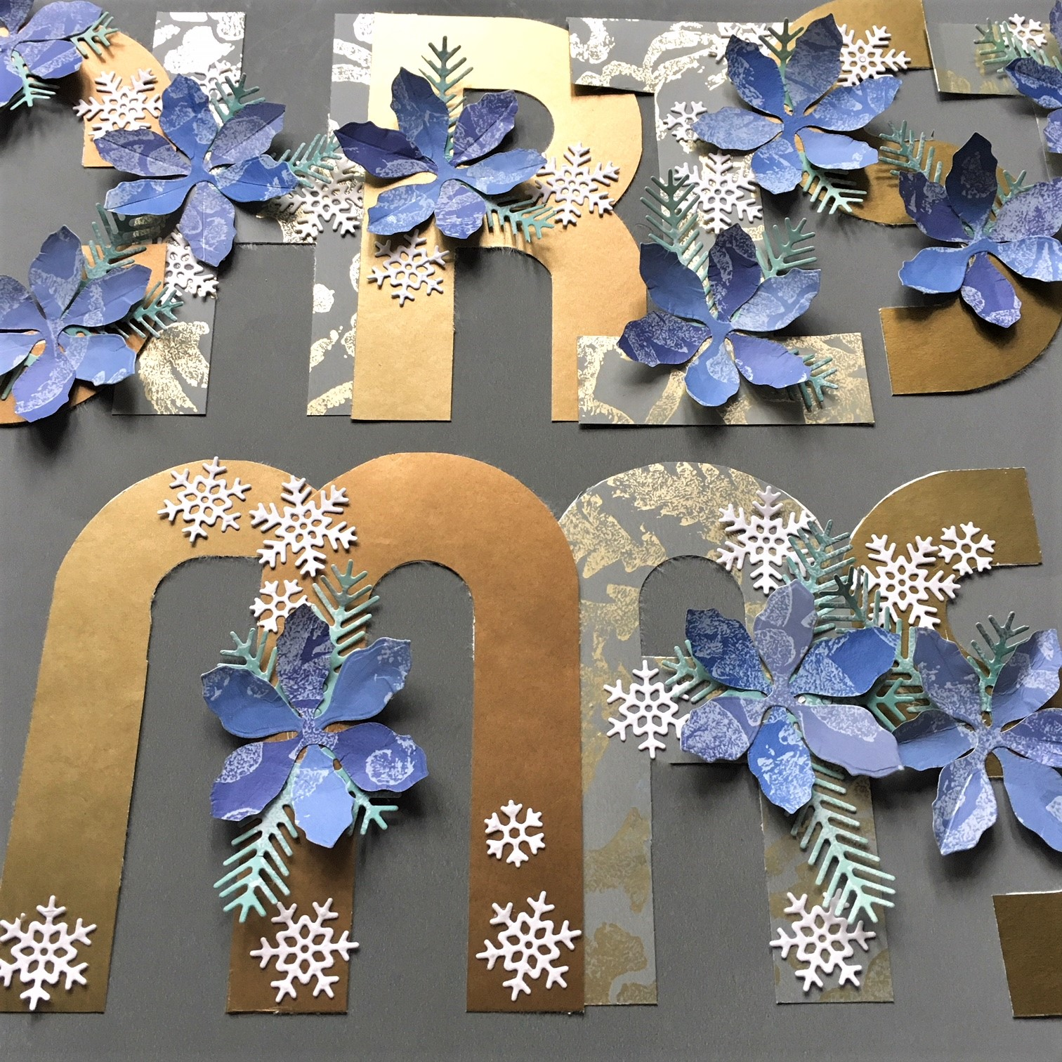 "Alphabet punch board review - paper letters ""Christmas"", decorated with paper flowers"