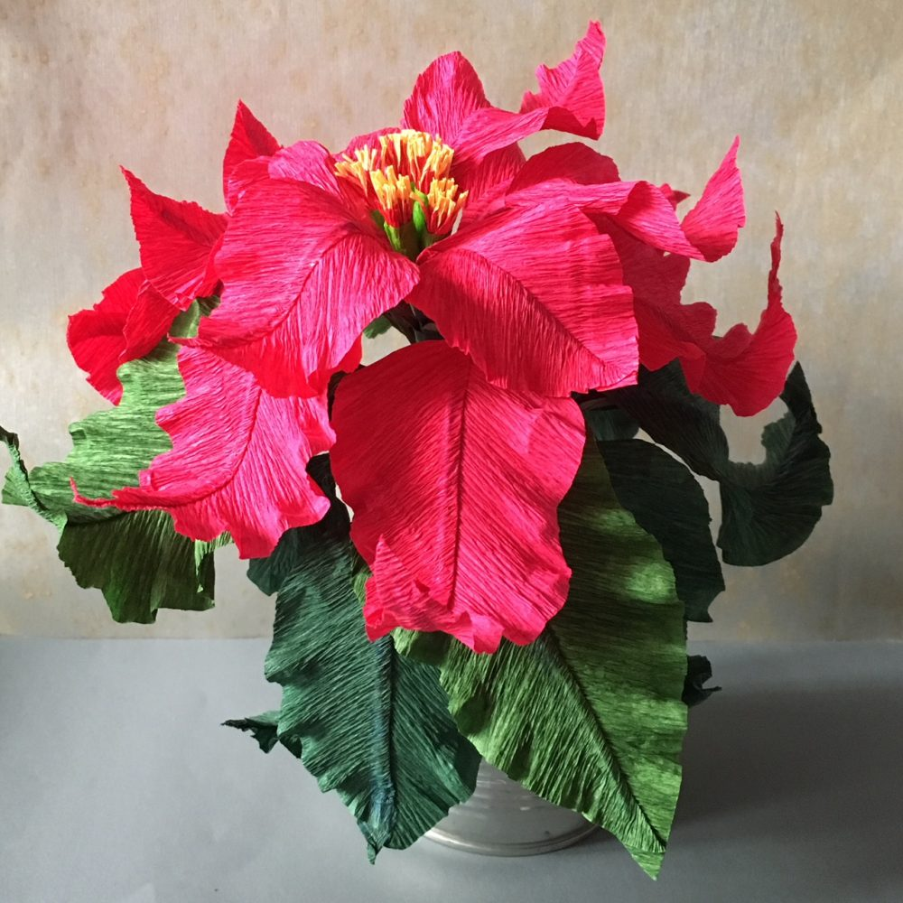 crepe paper Poinsettia plant in red
