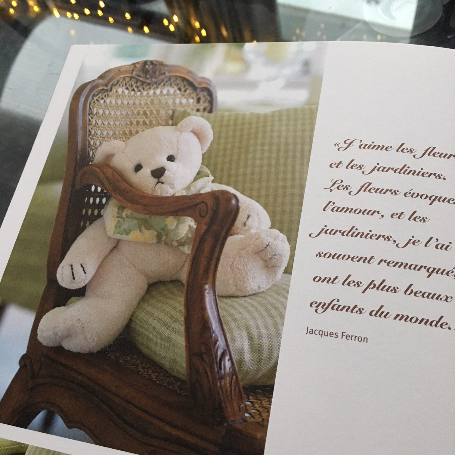 catalogue page with picture of a teddy bear and poem quote