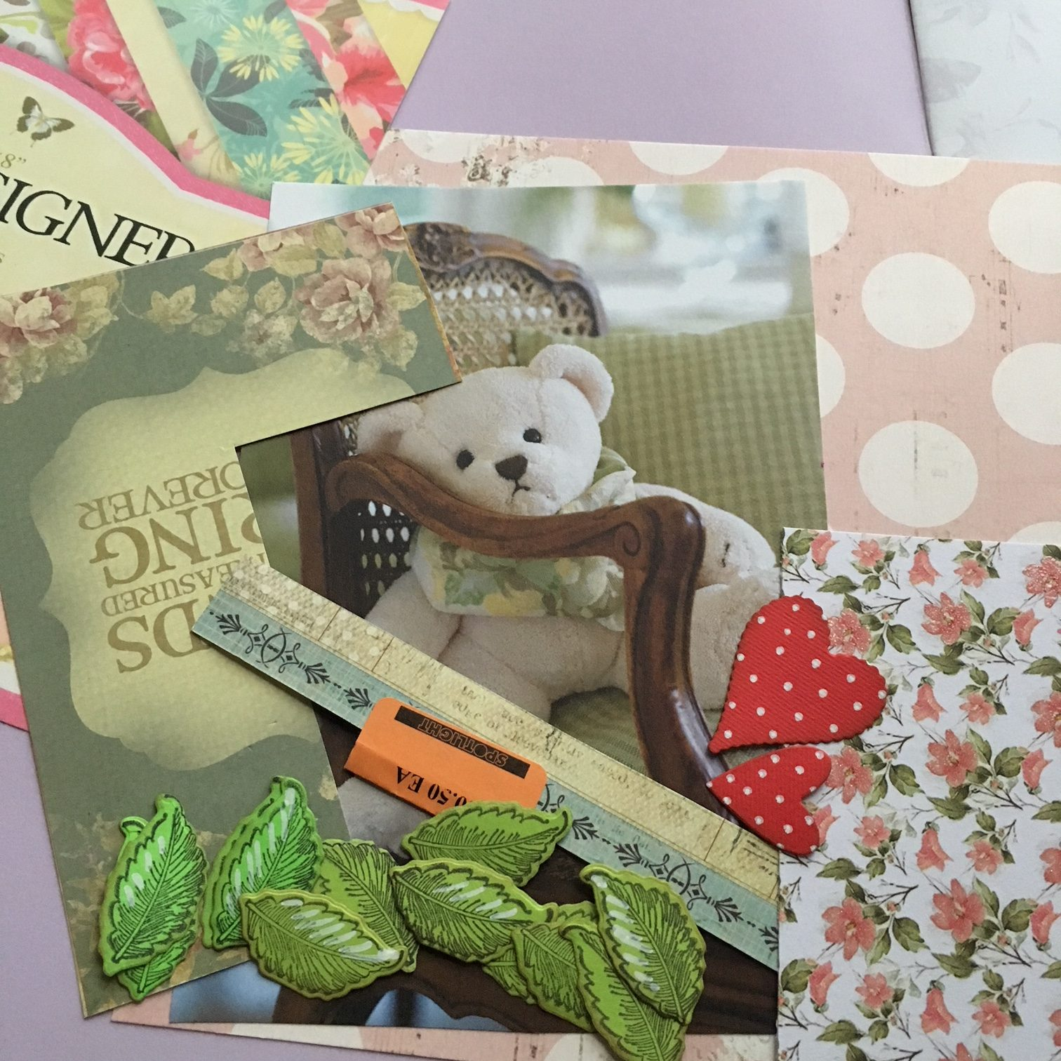 Teddy Bear scrapbook project - paper scraps and catalogue photo of a teddy bear