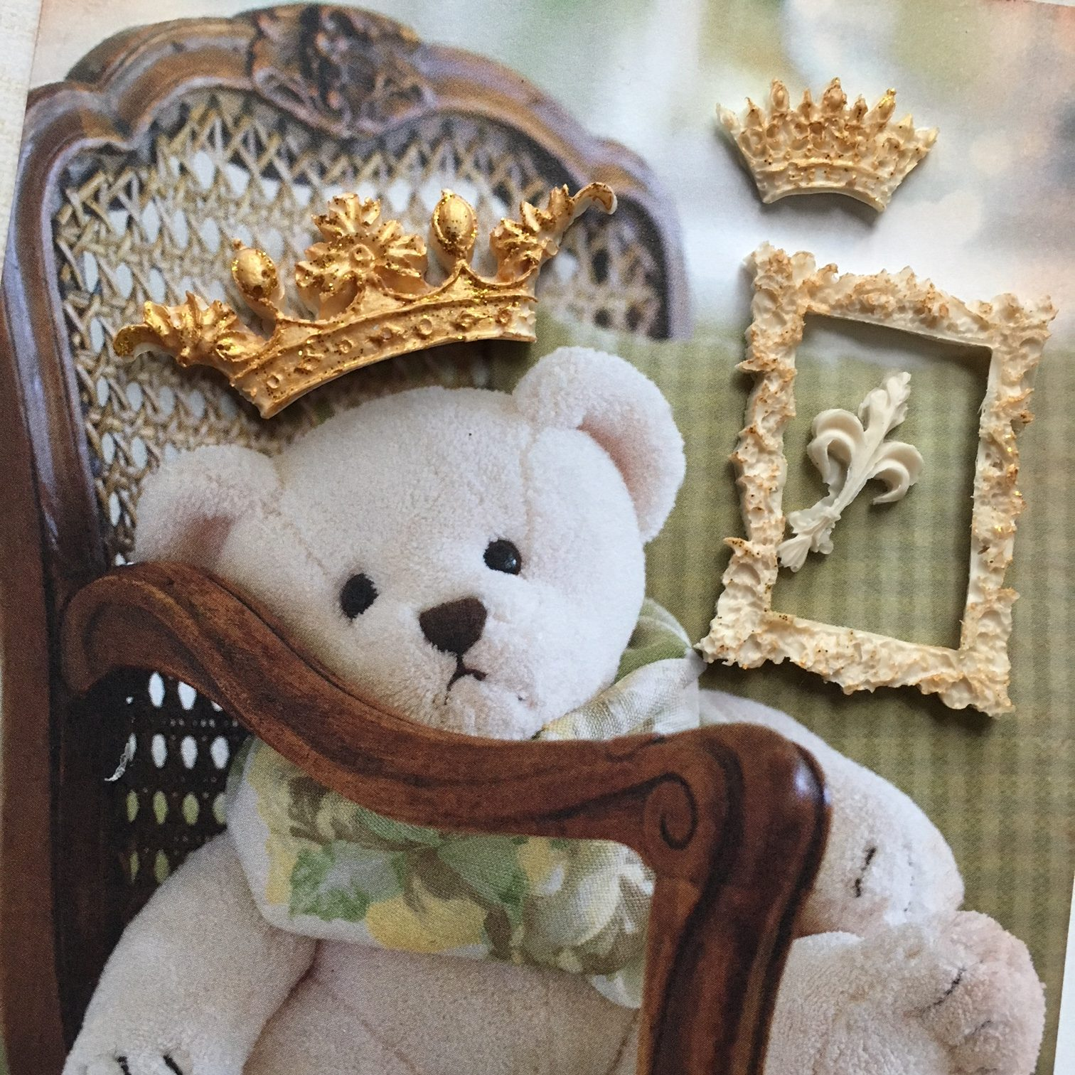 teddy bear scrapbook project - resin elements for extra decoration