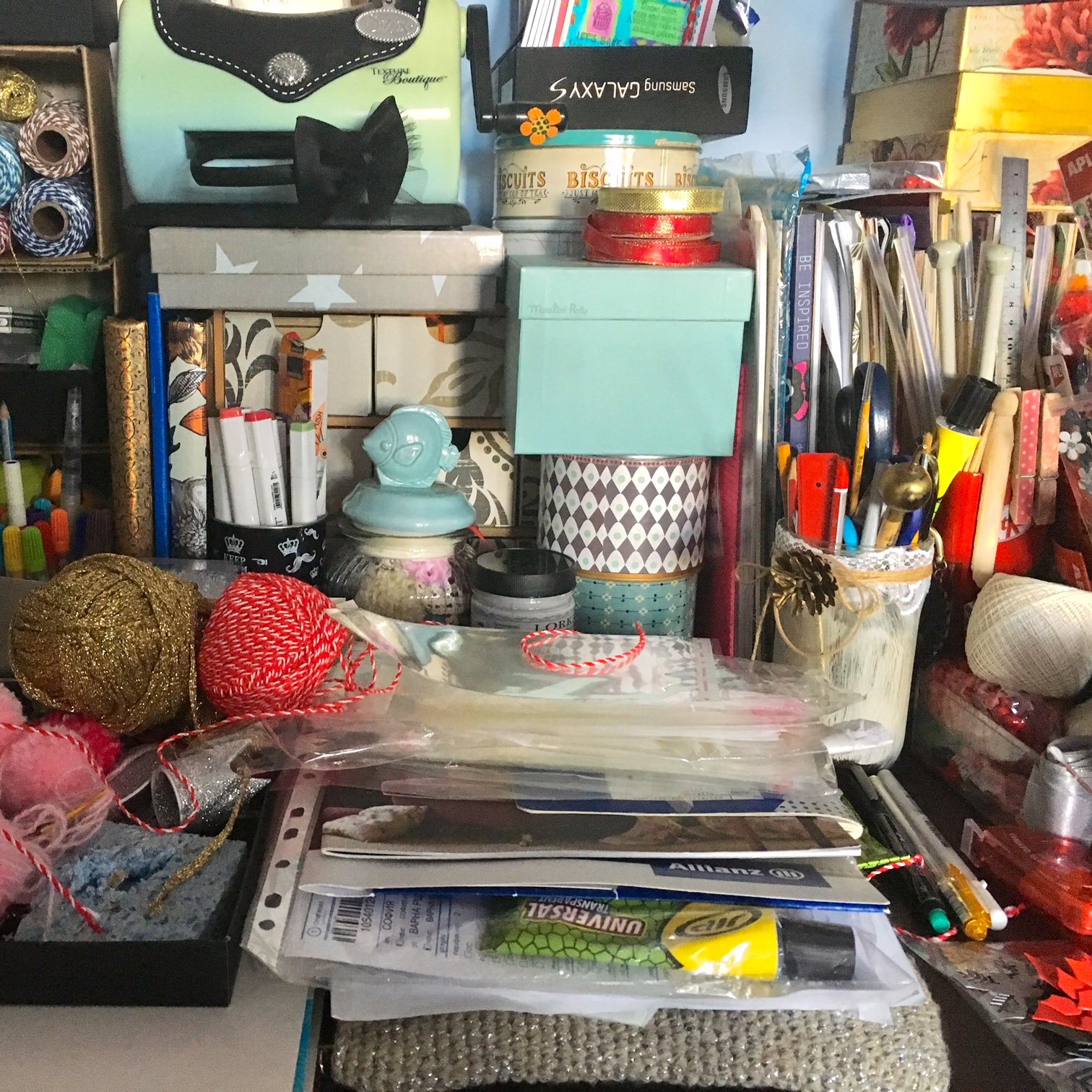cluttered craft space