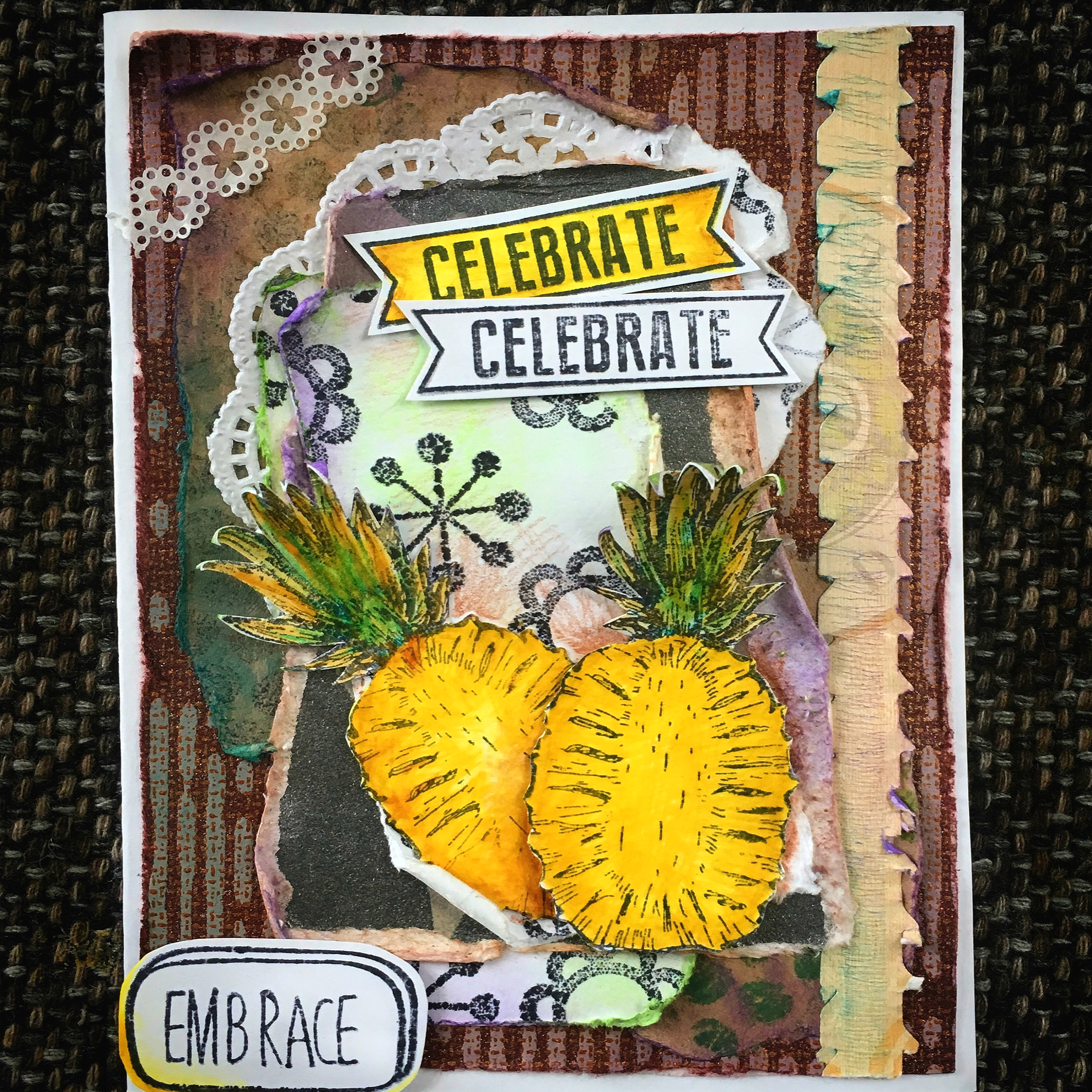 scrapbook pineaple project - a greeting card from scraps finished