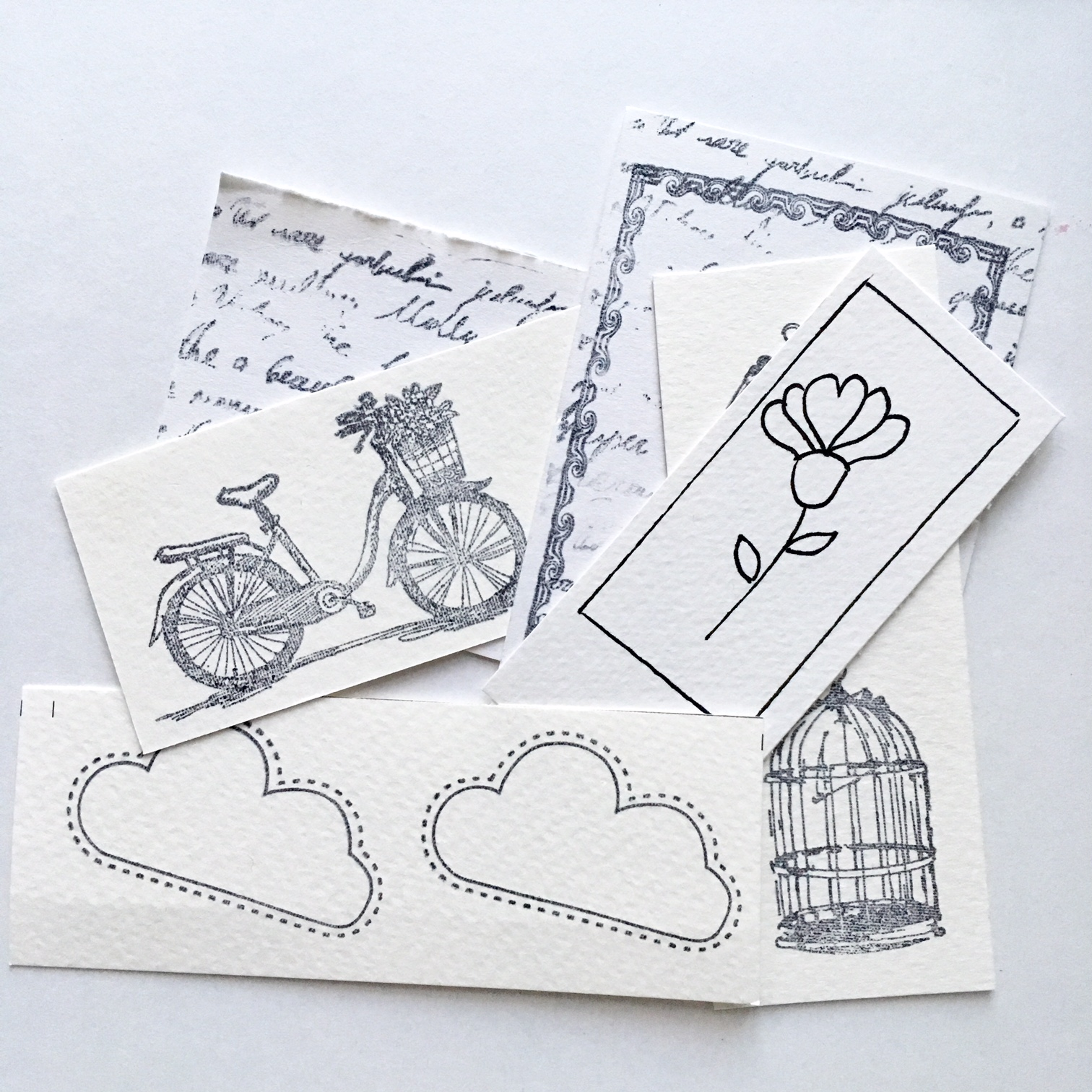 stamped and drawn paper embellishments