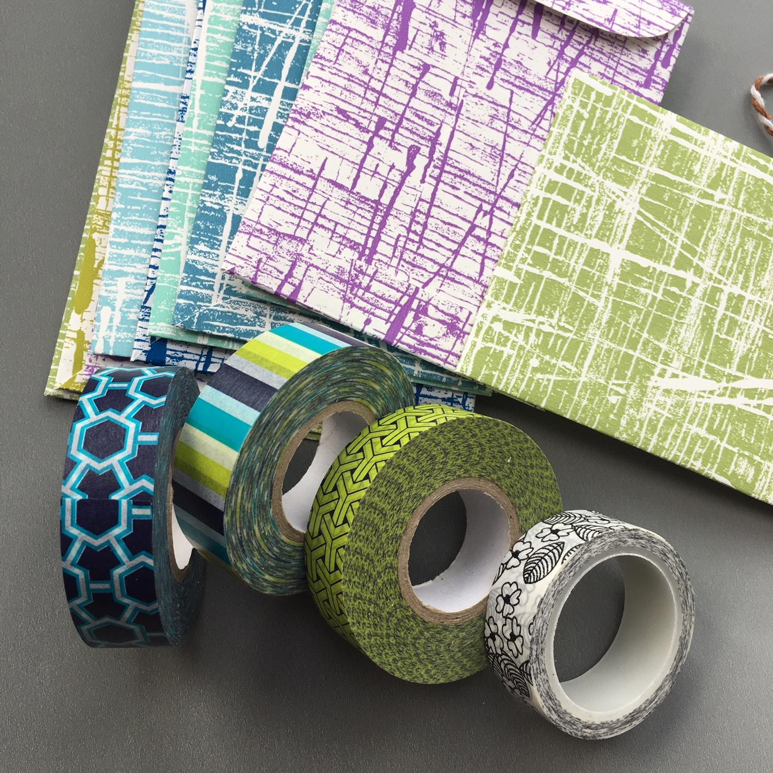 pocket envelopes matching the Washi tape colours