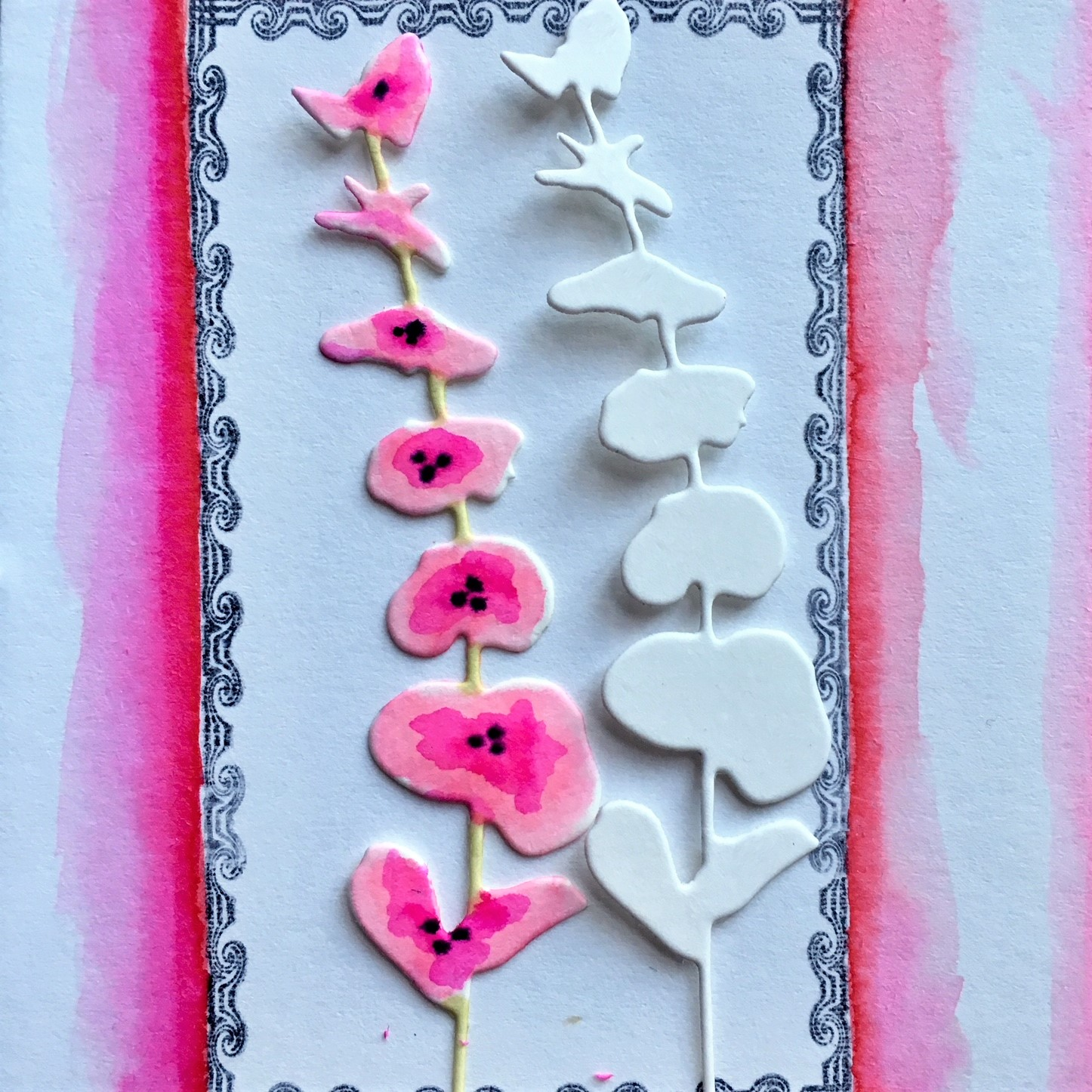 before and after colouring DIY paper embellishments