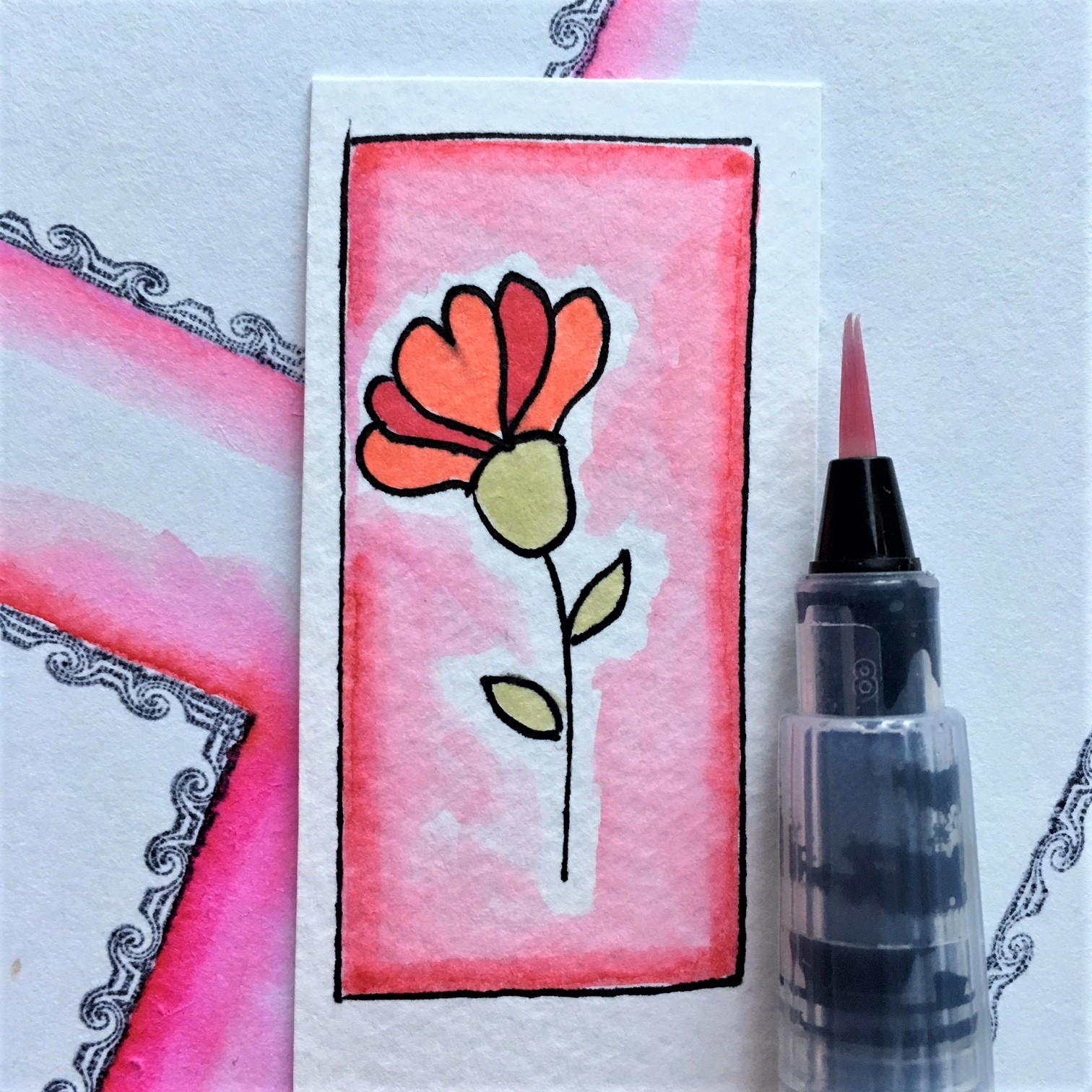 Capsule Craft Valentines - mixing watercolour and alcohol based markers