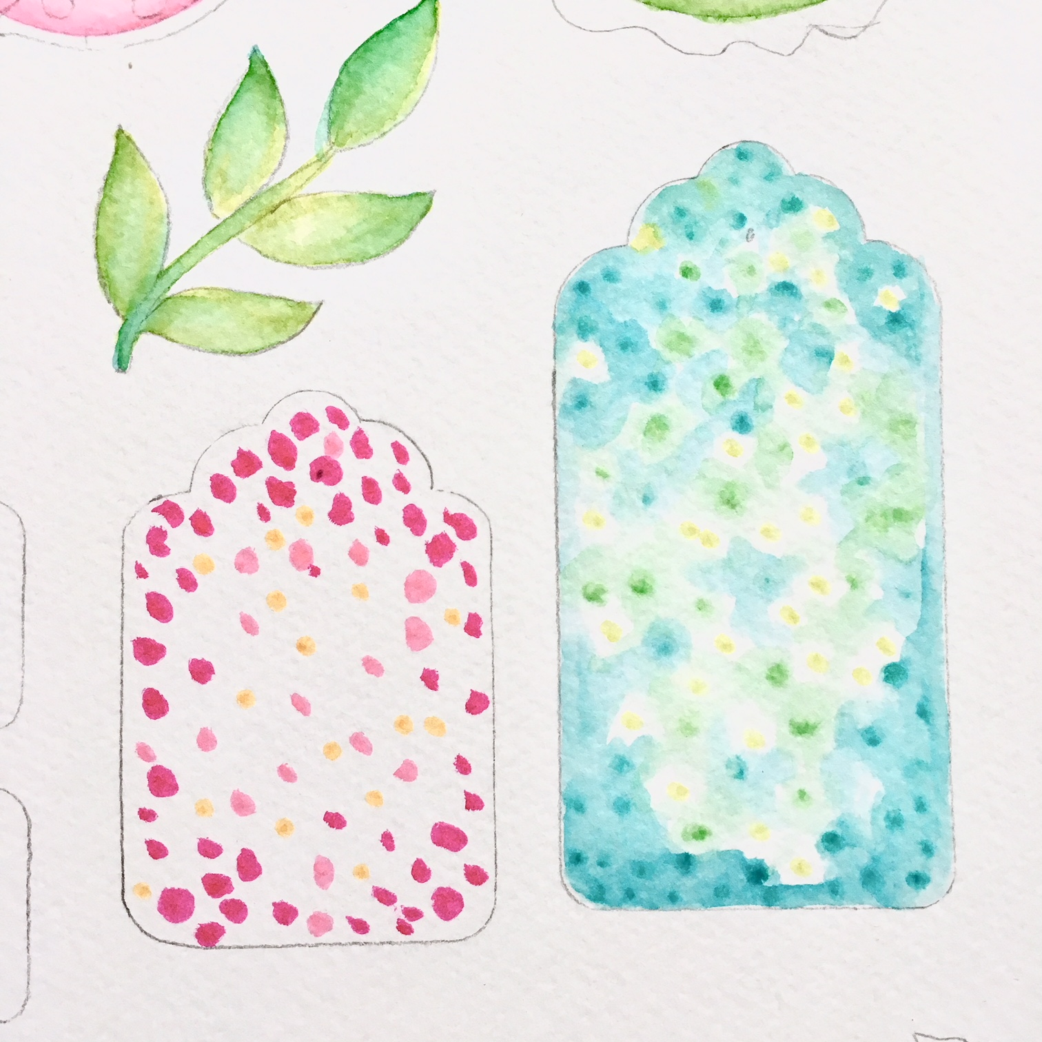 marker water colouring while DIY scrapbook embellishments