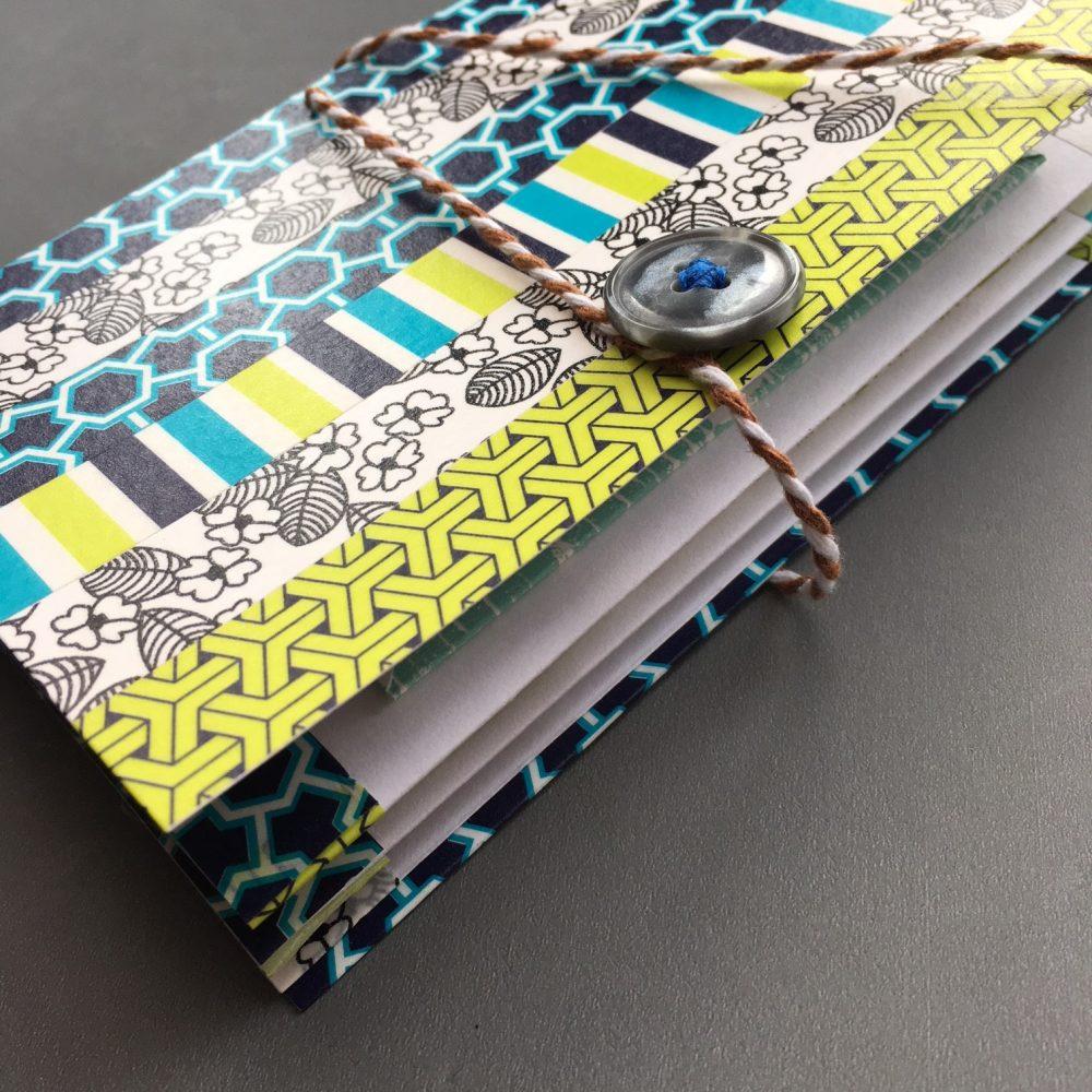 Washi decorated envelope pocket notebook