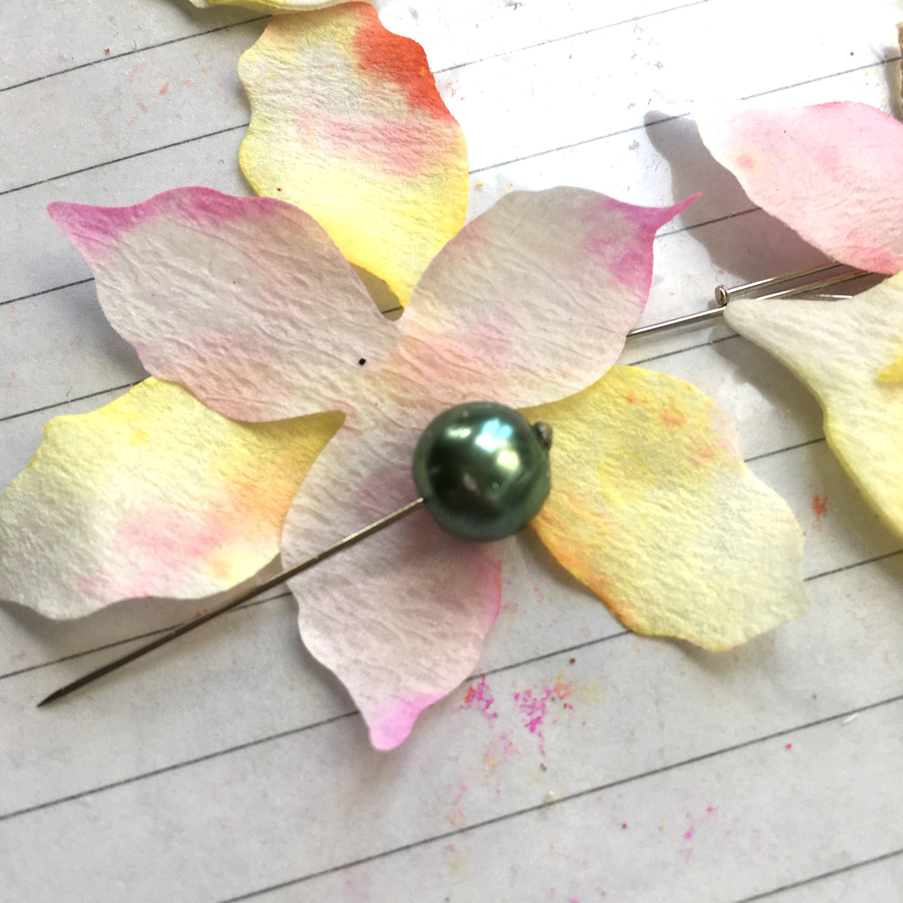 how to make cactus flowers from paper, pins and beads