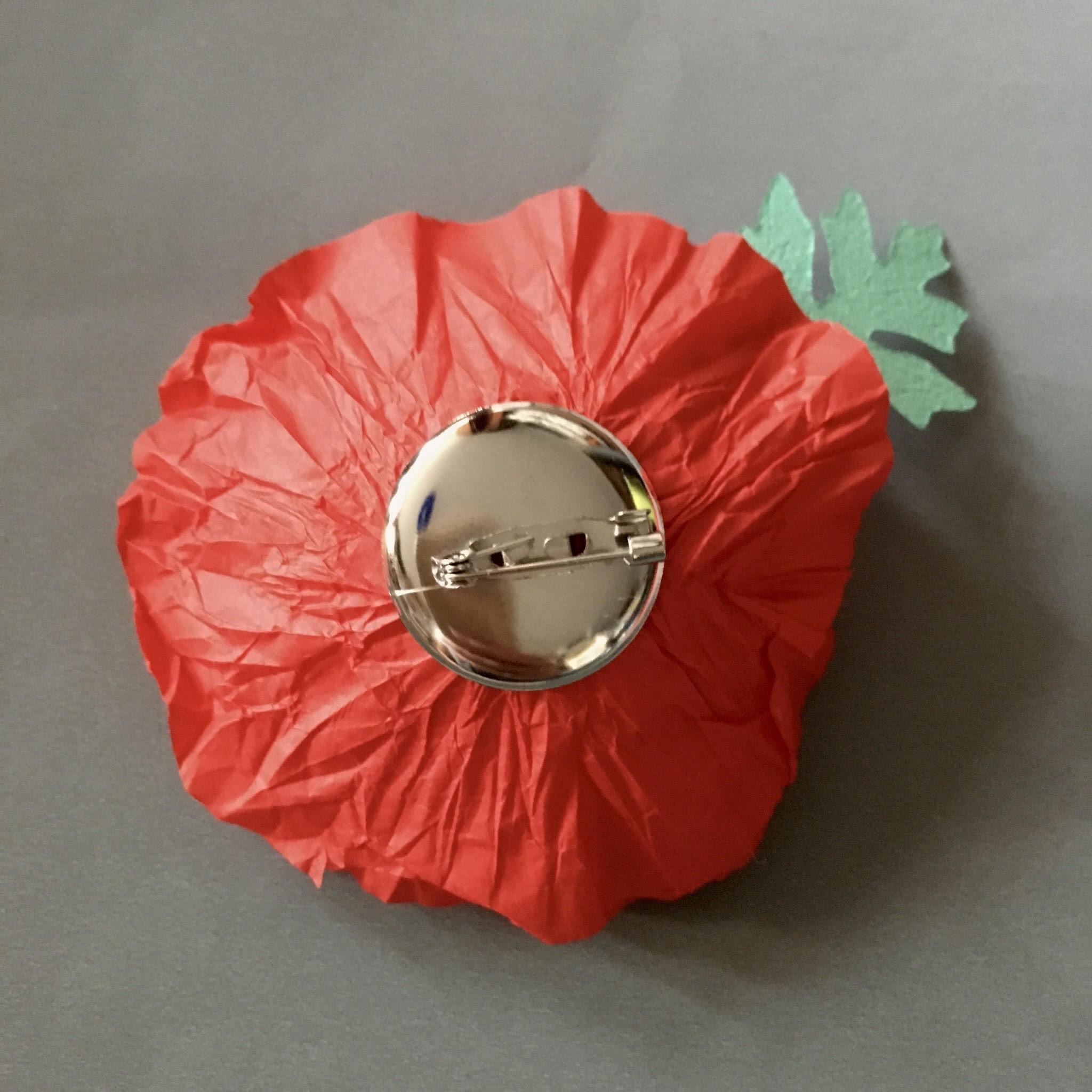 ANZAC tissue paper poppy brooch