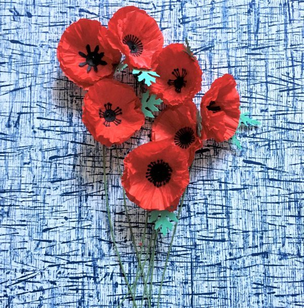 ANZAC tissue paper poppies