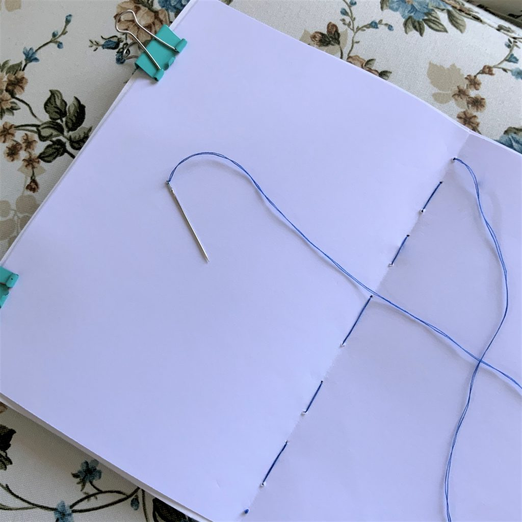 to create the notebook of your boat tracker, you need only paper, needle and cotton thread