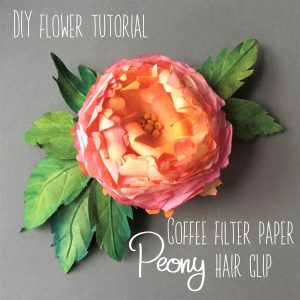 detailed instructions step by step with photos on how to create Peony hair clip from coffee filter paper