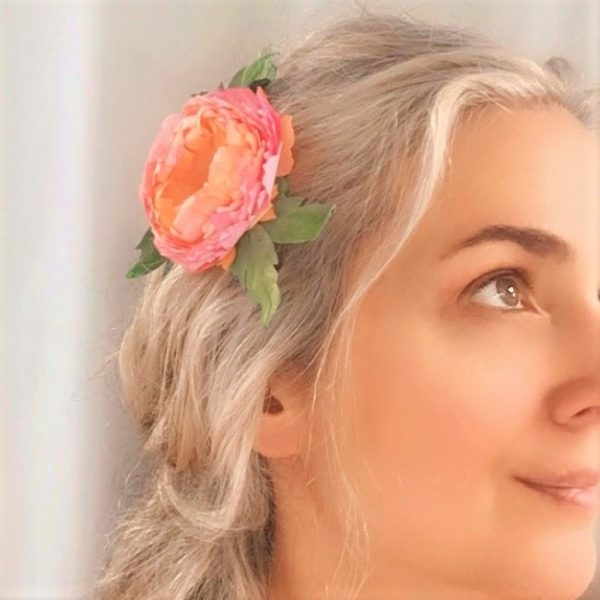 wedding flower Peony hair clip