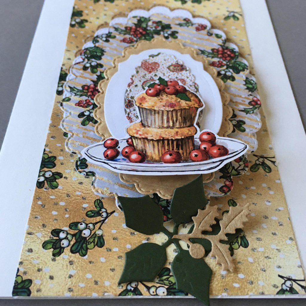 Christmas greeting card with berry muffin. Paper: