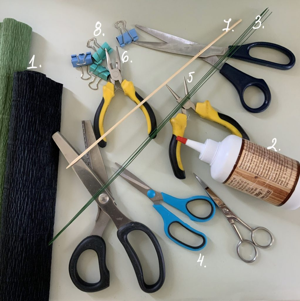 instruments and materials to make crepe paper black peony for home decoration