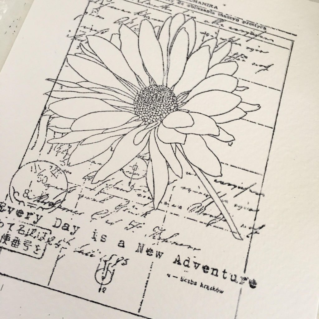 black-white floral stamp on watercolour paper - first step of creating your cute Christmas wall art