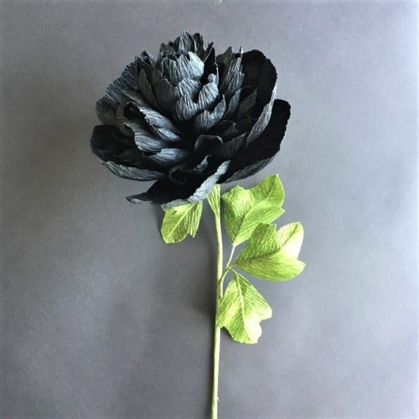 black peony crepe paper flower for stylish home decoration