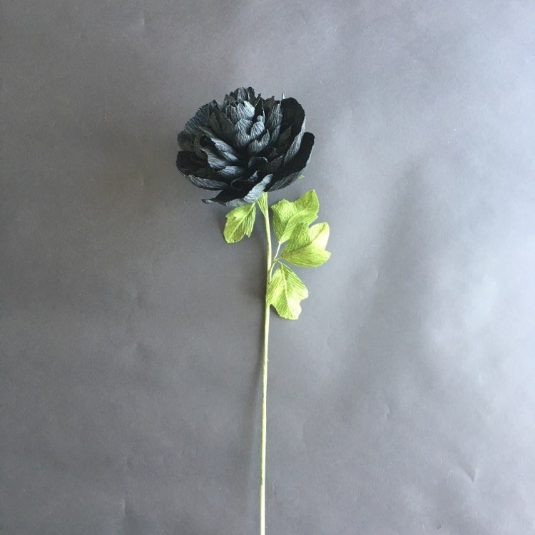 crepe paper black Peony for stylish home decoration - the flower is ready