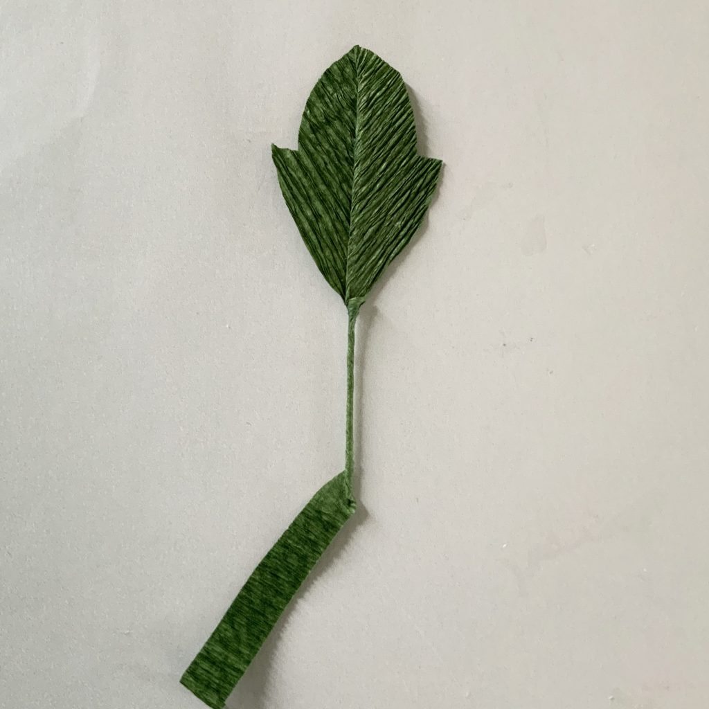 making the black crepe paper peony stem leaves