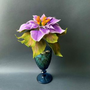 crepe paper purple Poinsettia flower