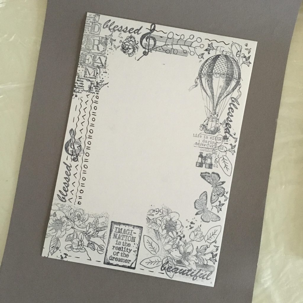 stamping another one piece of paper in a frame shape