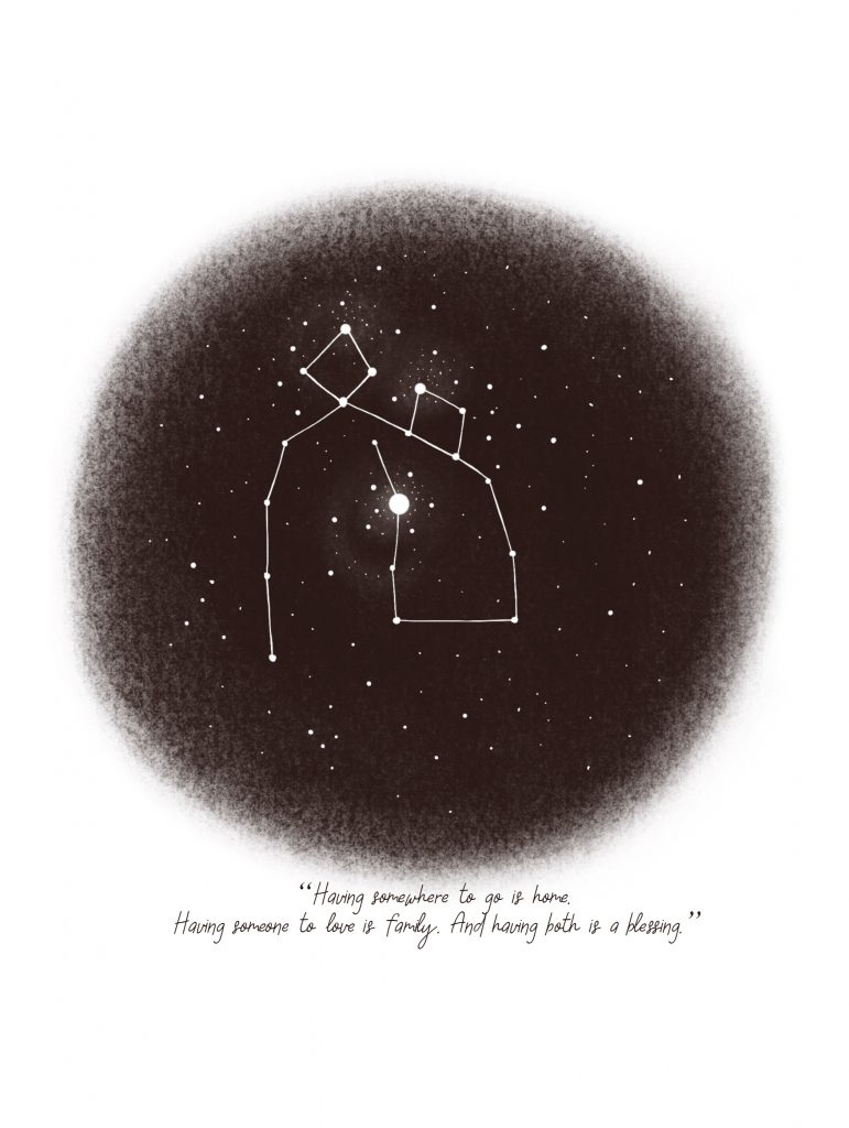 Create your own Christmas constellation printable family gift with a message