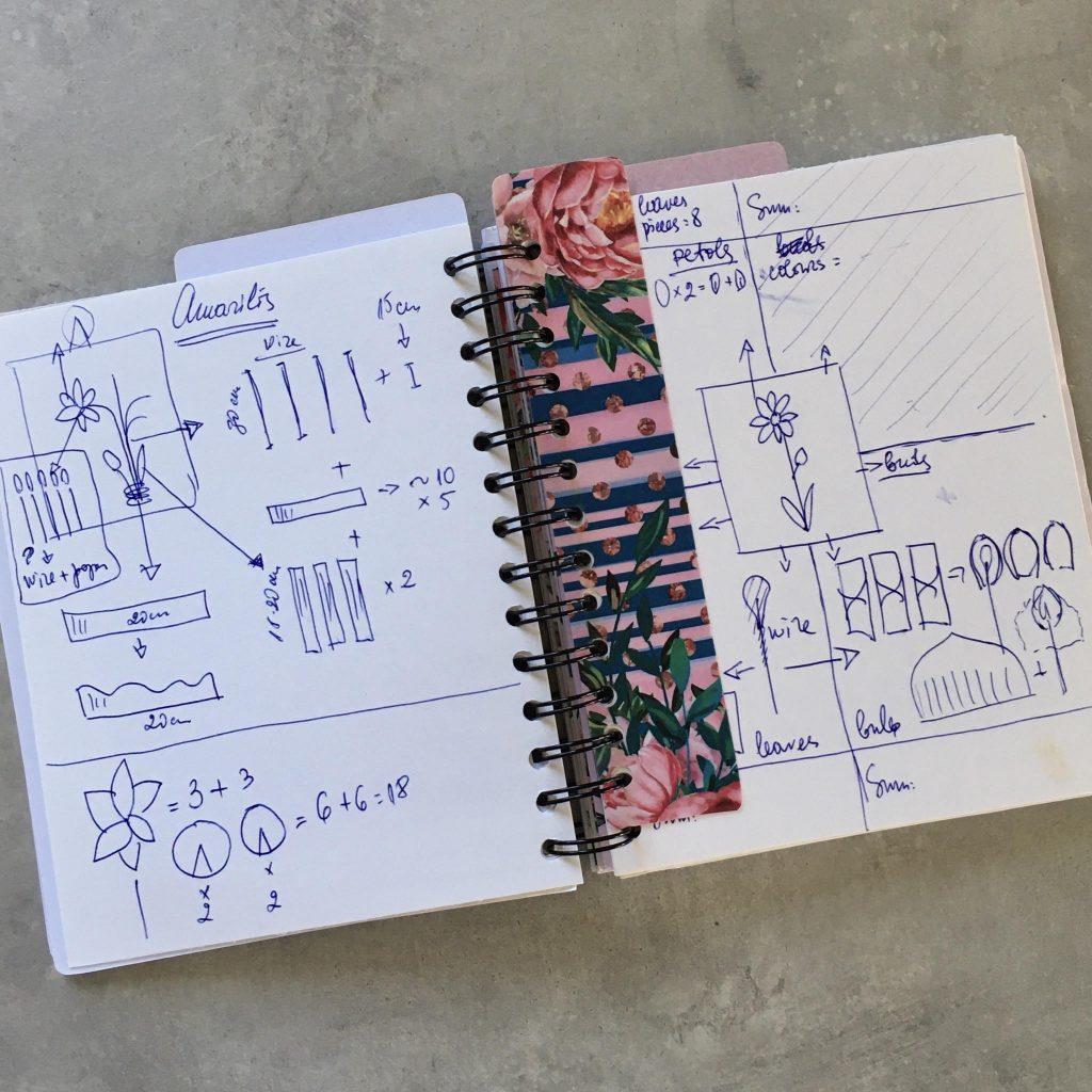 my old handwritten Flower maker's planner