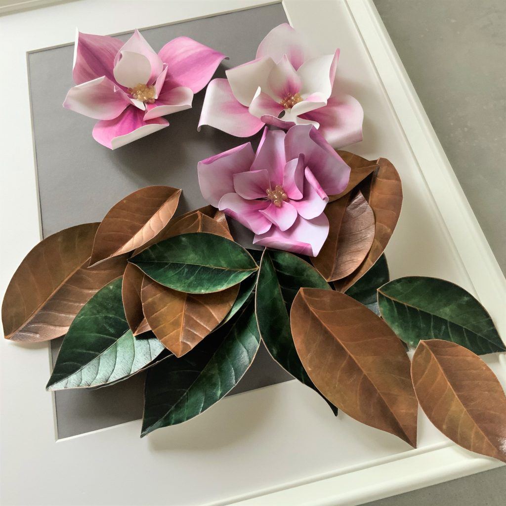 magnolia wall paper decoration project
