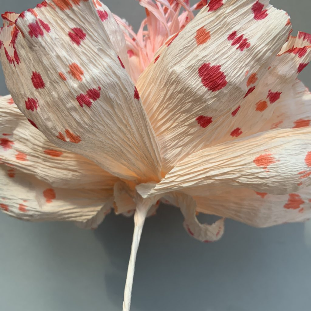 crepe paper Peony project - fixing together the stems with the stamens