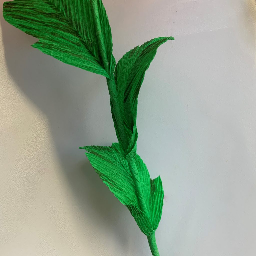 crepe paper Peony DIY - adding leaves