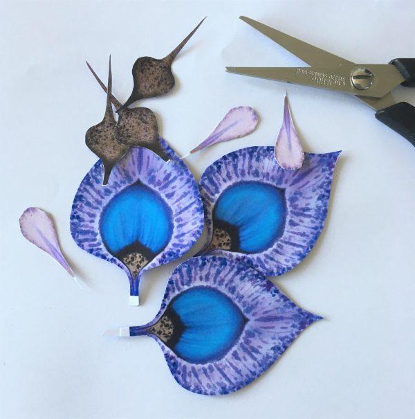 Peacock flower making - work in progress