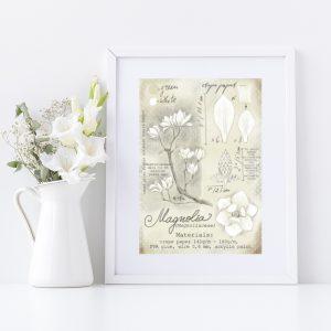 Magnolia tutorial drawing printable decoration