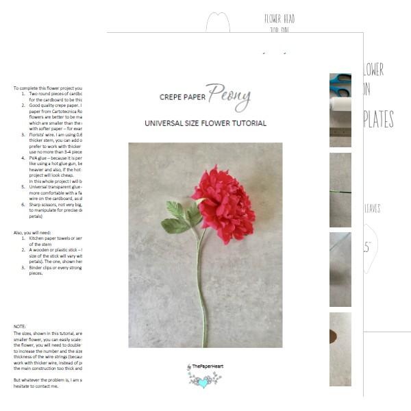 DIY paper Peony - tutorial and templates