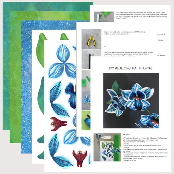 paper orchid ready to cut templates and instructions