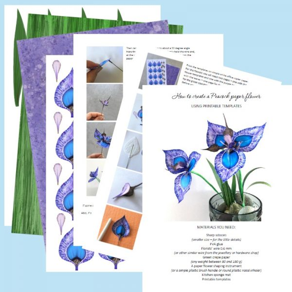 paper Peacock flower - printable templates and instructions