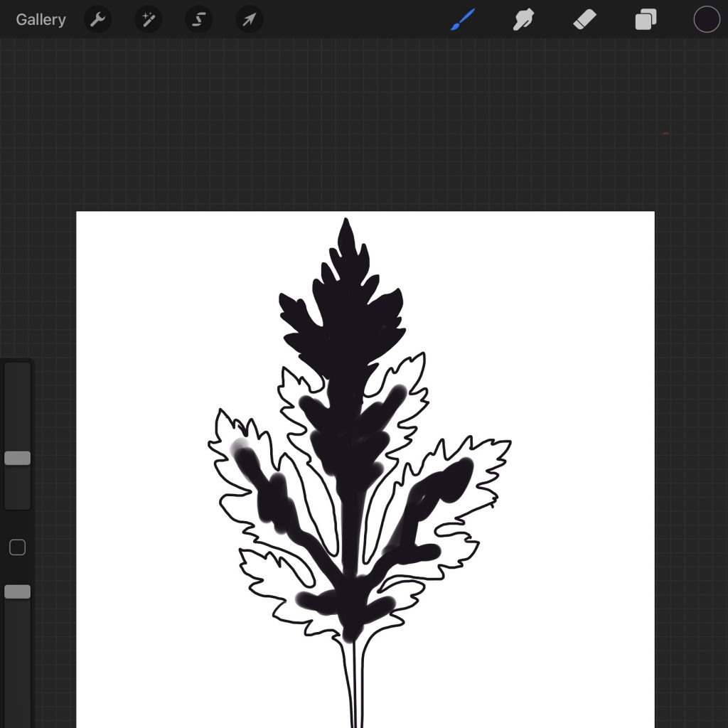 drawing in progress - this leaf picture soon will become a PNG file for Cricut