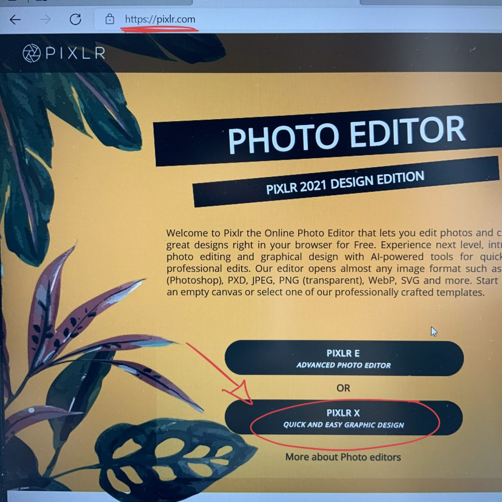 the opening page of Pixlr online editing site - great place to create and edit visual files, and also - PNG cut templates