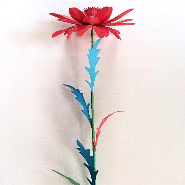 July 4th easy craft project - red flower stem with light blue, navy blue, red and green leaves