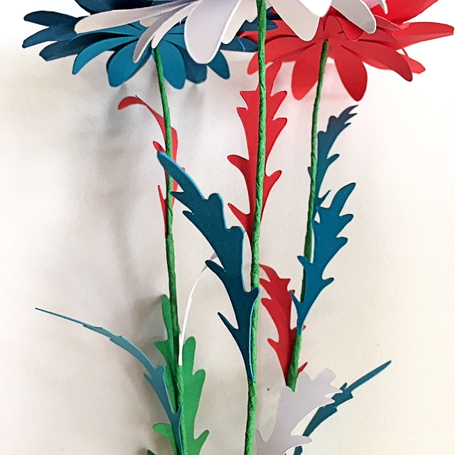 different blue-red-white flowers for July 4th home decoration