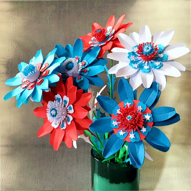 patriotic decoration - July 4th blue, red and white paper flowers