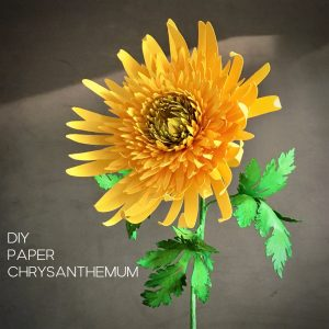 paper Chrysanthemum in yellow and green